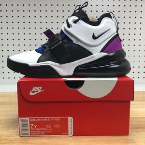 Nike Air Force 270 White Black 7Y / 8.5 Women's